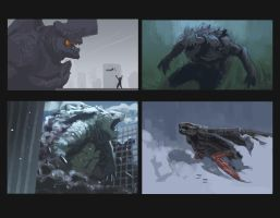 Kaiju speed paintings by EdwardDelandreArt