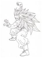 SSj3 Fighting Stance. :Sketch: by moxie2D