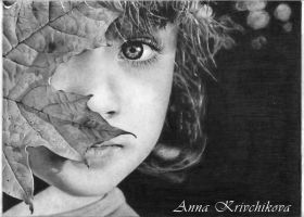A Girl with a a leaf by AnnaKrivchikova