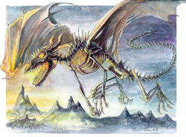 Watercolour Skeletal Dragon by drakhenliche