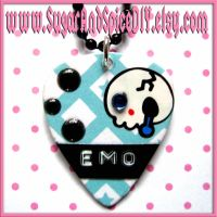 Crying Emo Skull Pick Necklace by wickedland