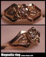 Gold magnolia ring by Dans-Magic