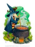 Witch with cauldron by Eugene Arenhaus by arenhaus