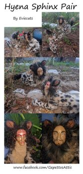 Sphinx Hyena Pair OOAK Posable Art Dolls by Eviecats