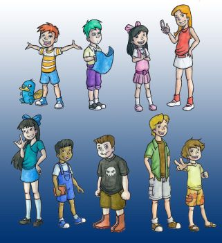 Phineas and Ferb Chars by xaykocys