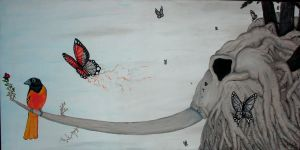 Mammoth and the bird by J-L-Houle