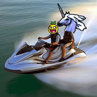 Jet-ski with my lovely Unicorn by Dusk-likes-hot-dogs