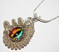 Rainbow Taxidermy Rainbow Glass Eye Pendant by Create-A-Pendant