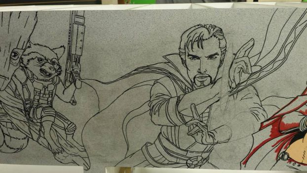 Crater City Comix Tombs WIP Rocket Dr Strange ink by Wolfgang-Blaine