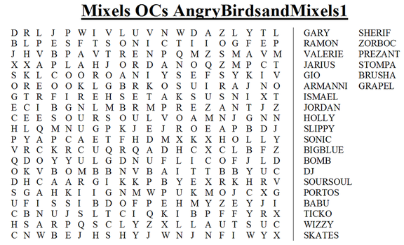 Mixels Crossword #14 AngryBirdsandMixels1 by Zaceyshark1200