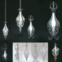 Set of two elven lamps hanging and portable by HorheSoloma