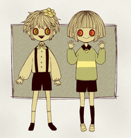 Flowey and Chara by tourniiquett