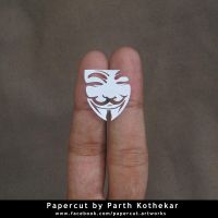 miniature papercut - V for Vendetta by ParthKothekar