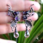 Silver studs On the wings of lavender wind by JSjewelry