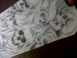 skull sleeve tattoo design by tattoosuzette