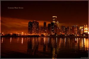 Chicago Night Skyline by Lumbule