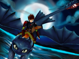 Hiccup and Toothless by Mimimoma