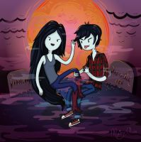 Marceline and Marshall Lee by gloomydollx