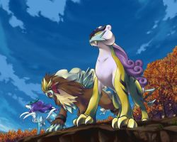 Suicune,Entei and Raikou by x3Hikarix3