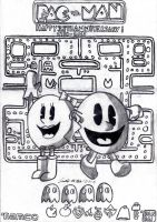Pac-Man 35th Anniversary Tribute (Lineart) by AuronTsubaki1985