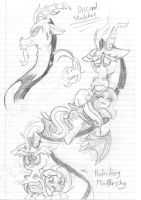 Discord Sketches (And fluttershy) by SonicMiku