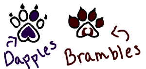 Dapples' and Brambles' Paw Prints by KoiNomz