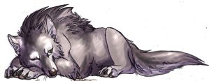 Sleepy GrayWolf by IzaPug