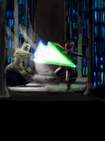Duel at the jedi library by Raikoh-illust