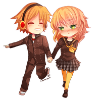 -- Chibi couple Commission for KoroMarimo -- by Kurama-chan