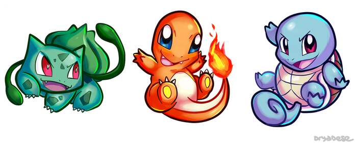 Bulbasaur/Charmander/Squirtle Charms by dryadese