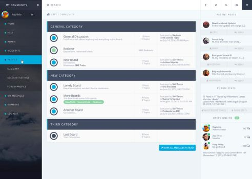 Forum Theme - Dashboard Style by Raphisio
