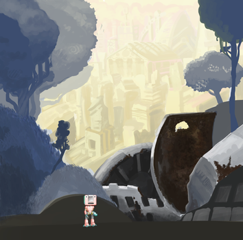 Indie Game Landscape Concept Art by AndHeDrew