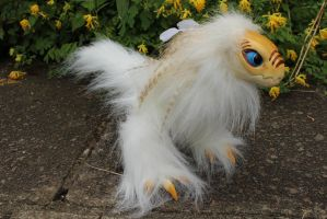 White Raptor Dragon Art Doll by Creature-Cave