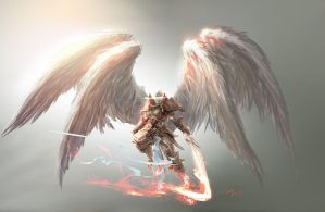 Angel concept art for Magic: The Gathering / Battl by Aleksi--Briclot