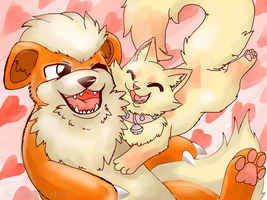 Mirera-and-growlithe AT by SHIROHO
