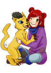 Digimon Commission: Akiko and Liollmon by Lebgar
