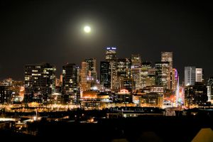 Full Moon HDR Downtown Denver by designKase