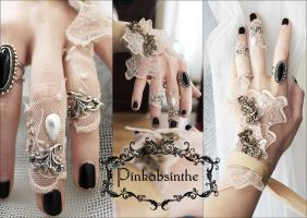 Moth wings set of wrist and fingers cuffs by Pinkabsinthe