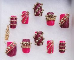 Lace Gold Pearl 3D Nails by jadelushdesigns