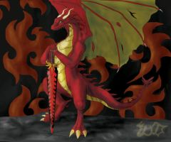 The red calm dragon by WalesDragon-2012