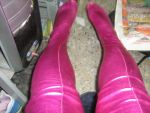Shiny Metallic Red Pink Long Stockings by aet256