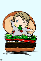 Alfred in his Burger by ScarletxofxthexEast