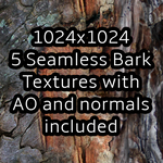 Texture Queen - 5 Seamless Bark Textures by celestialsunberry