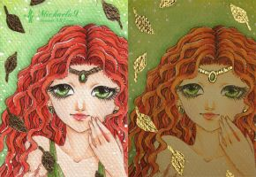 25. ACEO - Golden leaves by Michaela9
