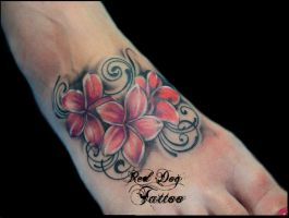 Flowers and Swirls by Reddogtattoo