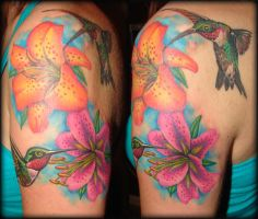 lilies and hummingbirds by asussman
