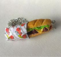 Subway Meatball Sub Necklace, Polymer Clay by ChroniclesOfKate