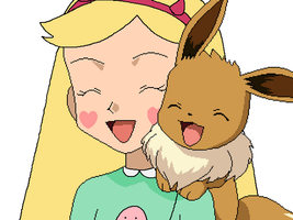 Star Butterfly with Eevee by SuperMarcosLucky96