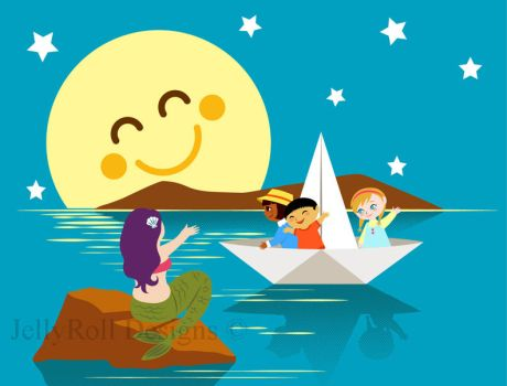Children on a paper boat waving to a mermaid by JellyRollDesigns
