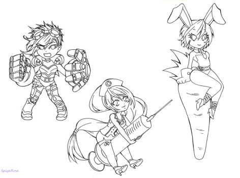 Chibi Vi, Nurse Akali and Bunny Riven [lineart] by SpigaRose